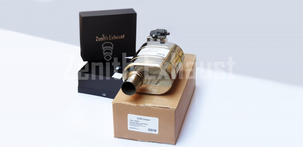 "Z  E  N  I  T  H . E  X  H  A  U  S  T  Universal single valve calssic Muffler Inlet-Outlet diameter 2.5"" Item#: ZEMS63C SS304 Hexagons inlet pipe Mesh For 40-150kw engine"